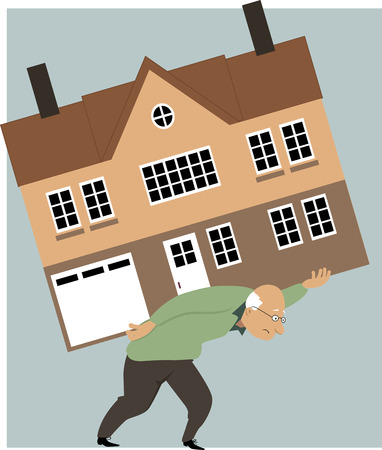 Tired elderly person carrying a huge house on his back as a metaphor for need to downsize Vectores