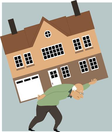 viviendas: Cansado persona de edad avanzada que lleva una enorme casa en su espalda como una metáfora de la necesidad de reducir el tamaño