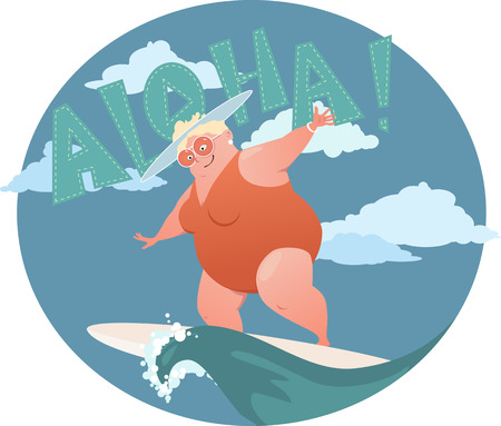 Happy confident overweight lady in a swimsuit riding a surf board Çizim