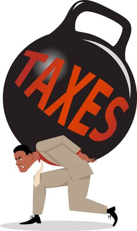 taxation: Exhausted man carrying a huge kettle-bell weight with a word taxes on it Illustration