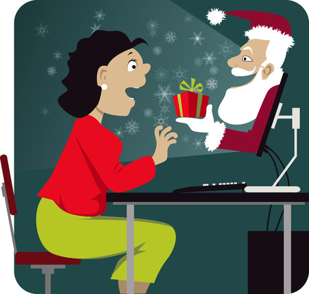 online shopping: Christmas shopping online. Happy woman sitting in front of her computer, Santa with a gift emerging from the screen