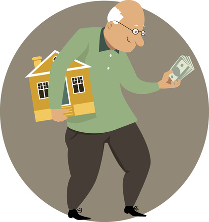 advantages: Happy elderly man holding a small house and a bundle of money