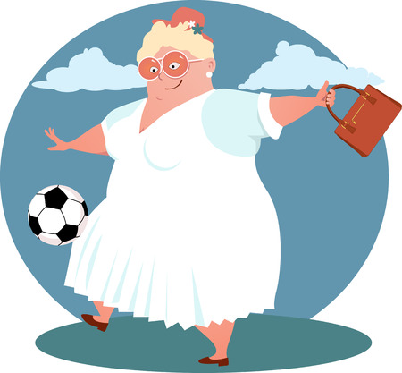 woman middle age: Happy overweight English lady in a hat playing soccer Illustration