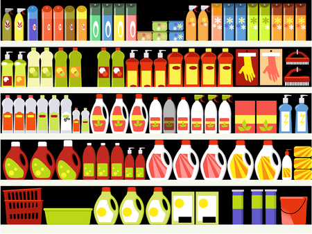 Household supplies aisle in the supermarket, shelves filled with cleaning products