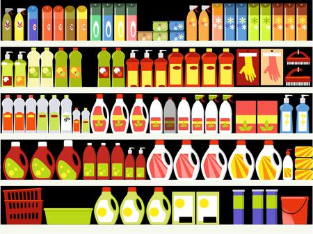 supermercado: Suministros para el hogar pasillo en el supermercado, los estantes llenos de productos de limpieza