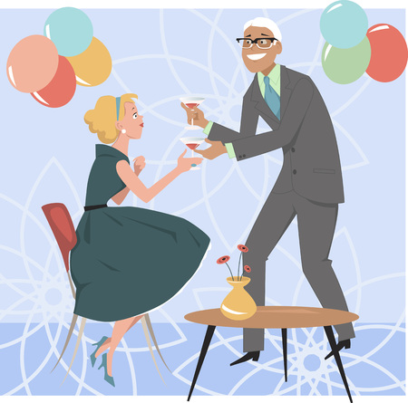 women coffee: Man bringing a cocktail to a woman at a 1950s cocktail party, EPS 8 vector illustration