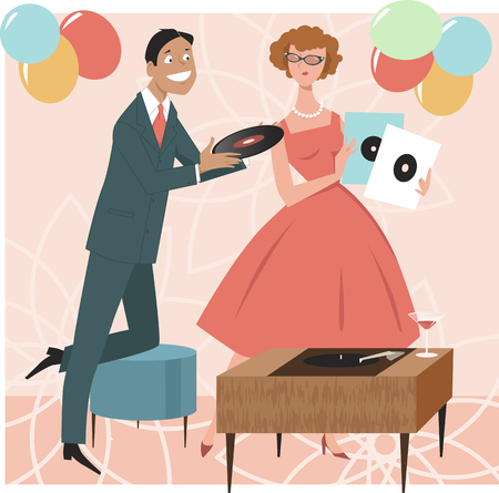 holiday celebrations: 1950s cocktail party guests choosing music standing next to a stereo record player console, EPS 8 vector illustration