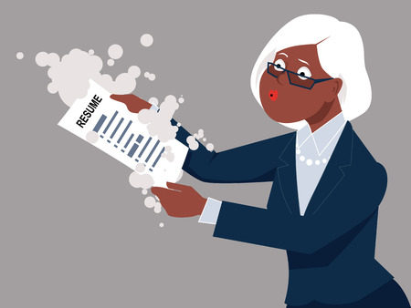 esp: Senior woman blowing off dust from her resume, returning to work, ESP 8 vector illustration Illustration