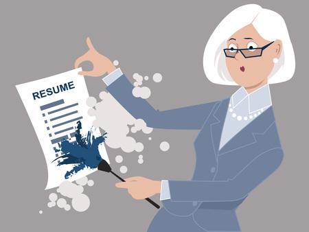 年配の女性が、仕事に戻る彼女の履歴書をオフ ESP 8 ベクトル図に散布