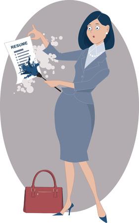 homemaker: Career woman dusting off her resume, vector illustration, EPS 8, no transparencies Illustration
