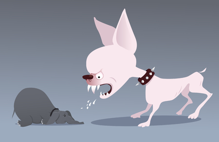 Furious mutt snarling at a submissive elephant as a metaphor for bullying and verbal aggression, EPS 8 vector illustration