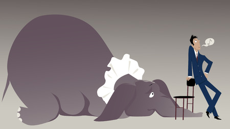 denial: Nonchalant man attempting to hide an elephant in the room under a chair, vector illustration, EPS 8