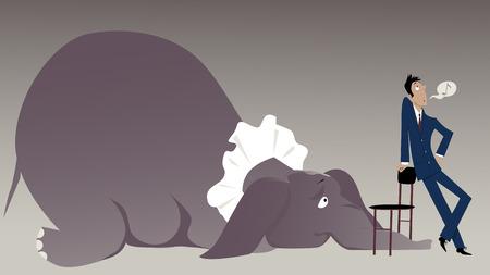 Nonchalant man probeert een olifant in de kamer onder een stoel te verbergen, vector illustratie, EPS-8