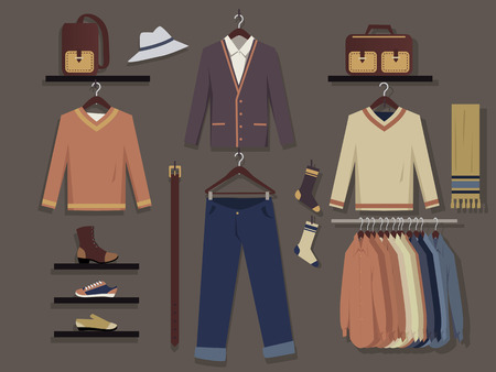 retail display: Clothing store for men wall display background, EPS 8 vector illustration, no transparencies Illustration