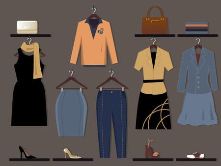 ropa casual: Tienda de ropa para el fondo de pantalla de la pared las mujeres, EPS 8 ilustraci�n vectorial, sin transparencias