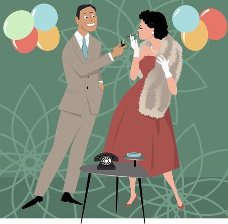 adult entertainment: Gentlemen lighting cigarette for a lady, EPS 8 vector illustration, no transparencies
