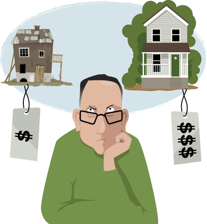 Upset men choosing between an affordable house in a bad shape and a nice, but expensive, house, EPS 8 vector illustration