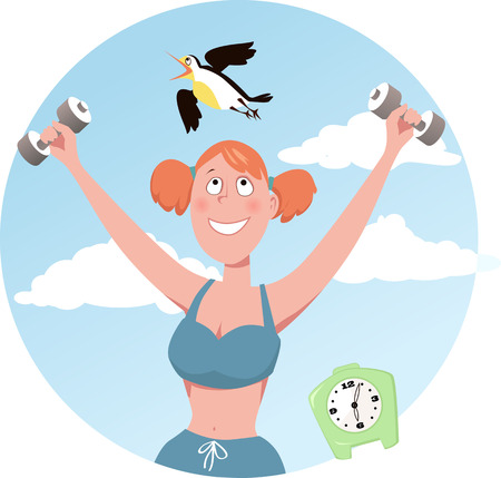 working out: Smiling woman doing working out, a lark flying over her head, EPS 8 vector illustration, no transparencies