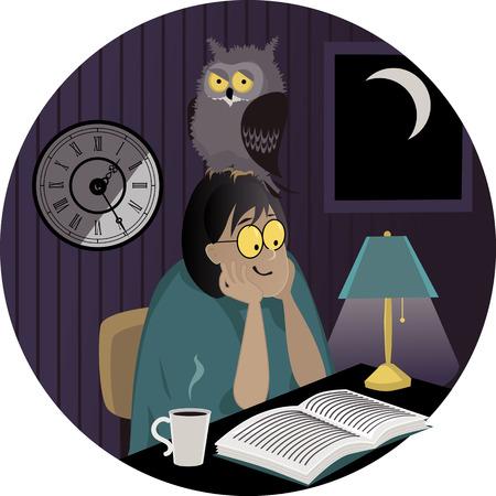 Een vrouw met een uil op haar hoofd een boek lezen 's avonds laat, EPS 8 vector illustratie, geen transparanten