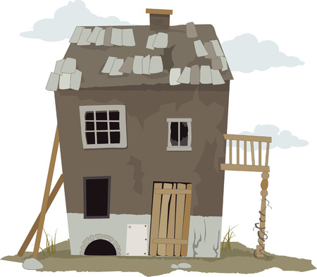 pobre: Pequeño, deteriorada, casa de chabolas, ilustración vectorial, ESP 8, sin transparencias Vectores
