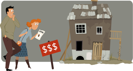 flip: Shocked buyers looking at a high price tag of an old small house, EPS 8 vector illustration