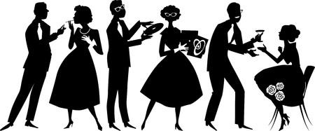 付き合い、EPS 8、白のオブジェクト、黒のみ、パーティーでの 1950 年代のファッションに身を包んだ人々 のベクター シルエット