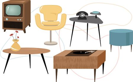 midcentury: Set of 1950s style furniture, EPS 8 vector illustration, no transparencies Illustration