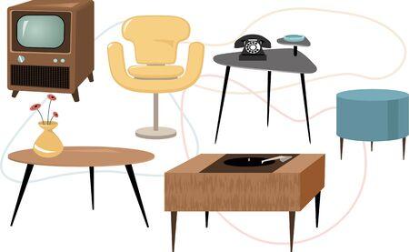 stil: Set Stil der 1950er Jahre Möbel, EPS 8 Vektor-Illustration, keine Folien Illustration
