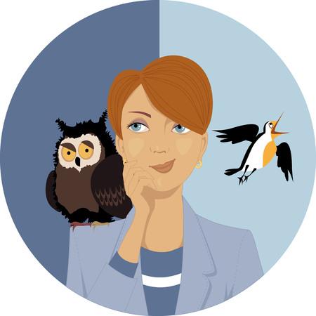 Portret van een peinzende vrouw, een uil en een leeuwerik op haar schouders, EPS 8 vector illustratie