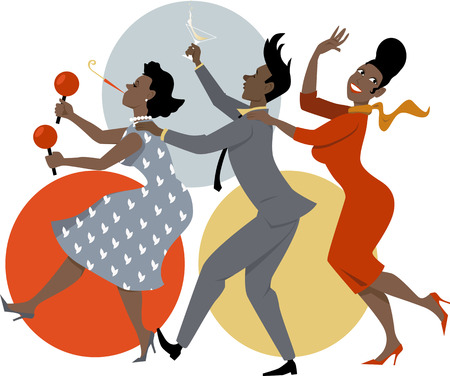 Group of people dressed in late 1950s early 1960s fashion dancing conga with maracas, party whistle and a cocktails, vector illustration, no transparencies, EPS 8