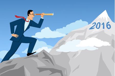 Businessman looking through the telescope at the mountaintop with numbers 2016 on it, EPS8 vector illustration