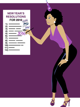 resolutions: Embarrassed woman in a party hat correcting an year on a New Year Resolutions list, EPS 8 vector illustration