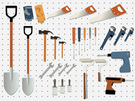retail display: Display wall of a hardware store filled with assorted tools, EPS 8 vector illustration
