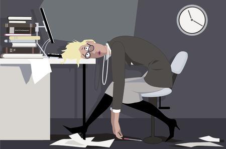 Erschöpfte Frau, die spät nachts im Büro sitzt und ihren Kopf auf den Schreibtisch, Vektorillustration ENV 8 setzt