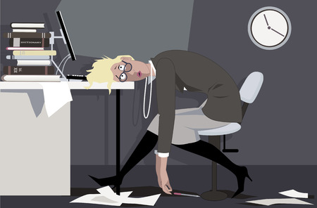 Exhausted woman sitting in the office late at night, putting her head on the desk, EPS 8 vector illustration Stock Illustratie