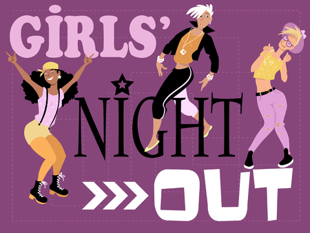 girls night: Girls night out invitation design with three stylish fun young women dancing, EPS 8 vector illustration