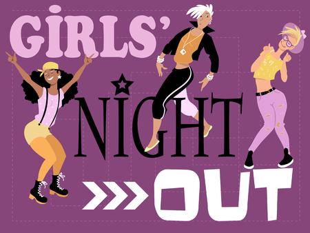 Nuit la conception d'invitation de filles avec trois amusant élégante jeunes femmes danser, EPS, 8, vecteur, Illustration