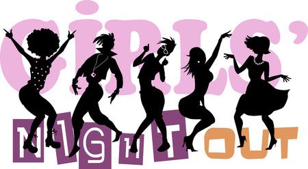 Girls 'Night Out, EPS 8 vector illustratie met zwarte silhouetten van vijf dansende vrouwen, geen transparanten