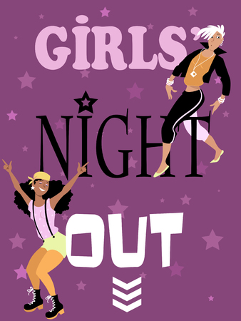 night out: Girls night out invitation design with two stylish fun young women, EPS 8 vector illustration Illustration