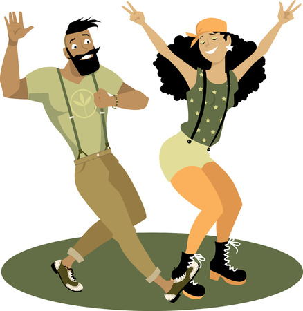 dancing club: Young funny hipster couple dancing on a circular stage, EPS 8 vector illustration, no transparencies
