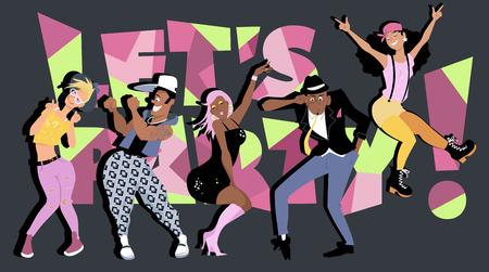 girls night out: Diverse group of fun stylish young people dancing, lets party! on the background, EPS8 vector illustration