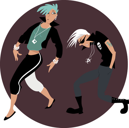 stereotype: Cool funny rock and roll couple dancing on a circular background, EPS 8 vector illustration, no transparencies Illustration