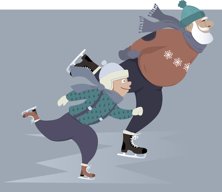 Jongetje schaatsen met zijn grootvader Stock Illustratie