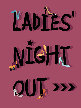Ladies Night Out invitations card design with shoes Иллюстрация