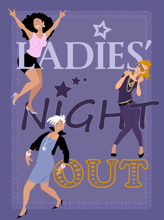 Ladies\' night out invitation design with three stylish fun women