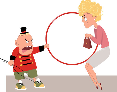 family: Angry child in a lion tamer costume making his Mom jump through a hoop, EPS 8 vector illustration Illustration