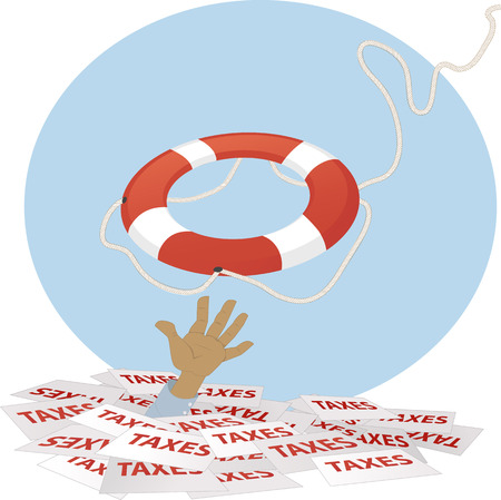 A life buoy thrown to a person, drowning in taxes, EPS 8 vector illustration, no transparencies