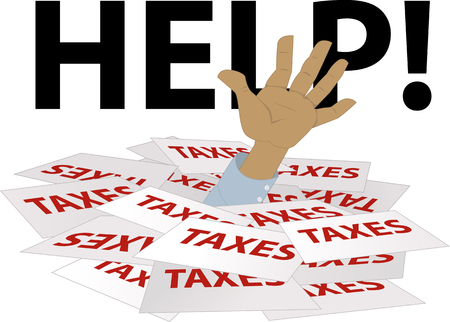 internal revenue service: Persons hand sticking out of a pile of tax forms, word help on the background, EPS 8 vector illustration Illustration