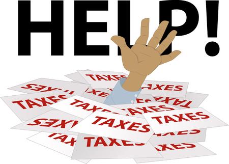 Person's hand uit te steken van een stapel van belasting vormen, woord helpen op de achtergrond, EPS 8 vector illustratie