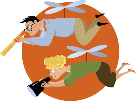 hovering: Overprotective helicopter parents hovering with a telescope and a binoculars, EPS 8 vector illustration